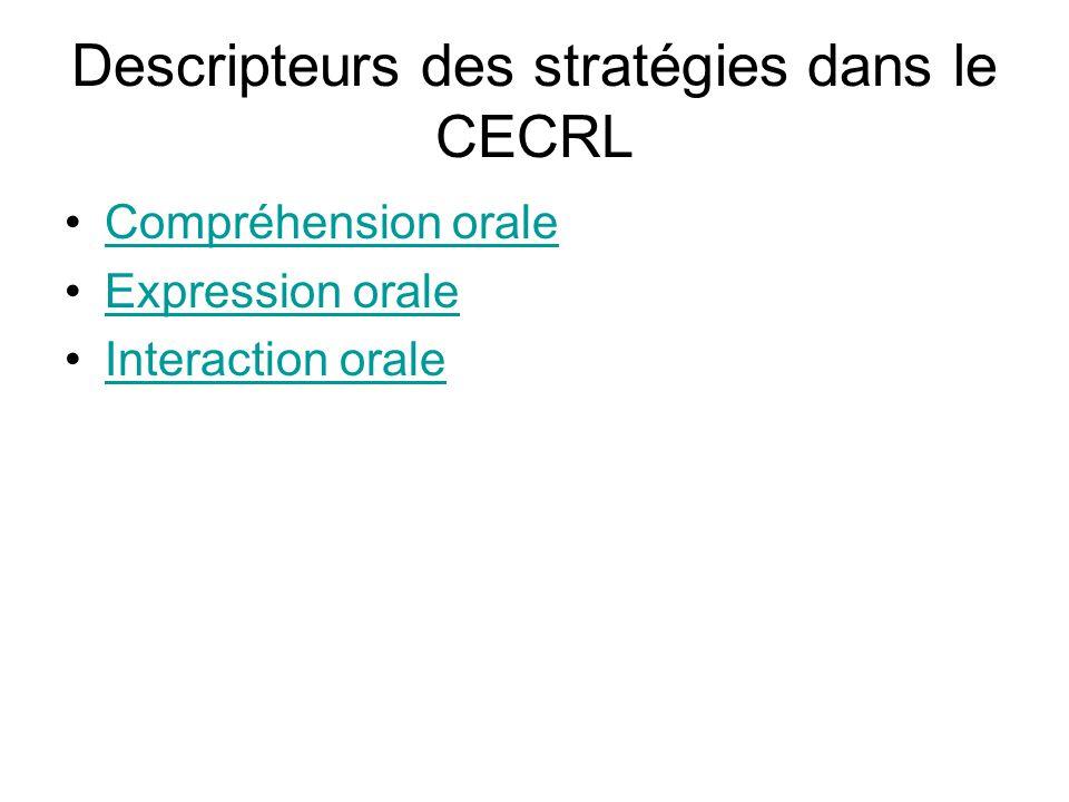 Descripteurs des stratégies dans le CECRL Compréhension orale Expression orale Interaction orale