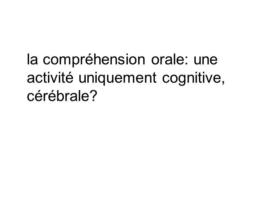 la compréhension orale: une activité uniquement cognitive, cérébrale?