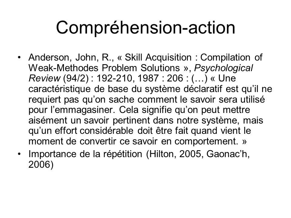 Compréhension-action Anderson, John, R., « Skill Acquisition : Compilation of Weak-Methodes Problem Solutions », Psychological Review (94/2) : 192-210, 1987 : 206 : (…) « Une caractéristique de base du système déclaratif est quil ne requiert pas quon sache comment le savoir sera utilisé pour lemmagasiner.