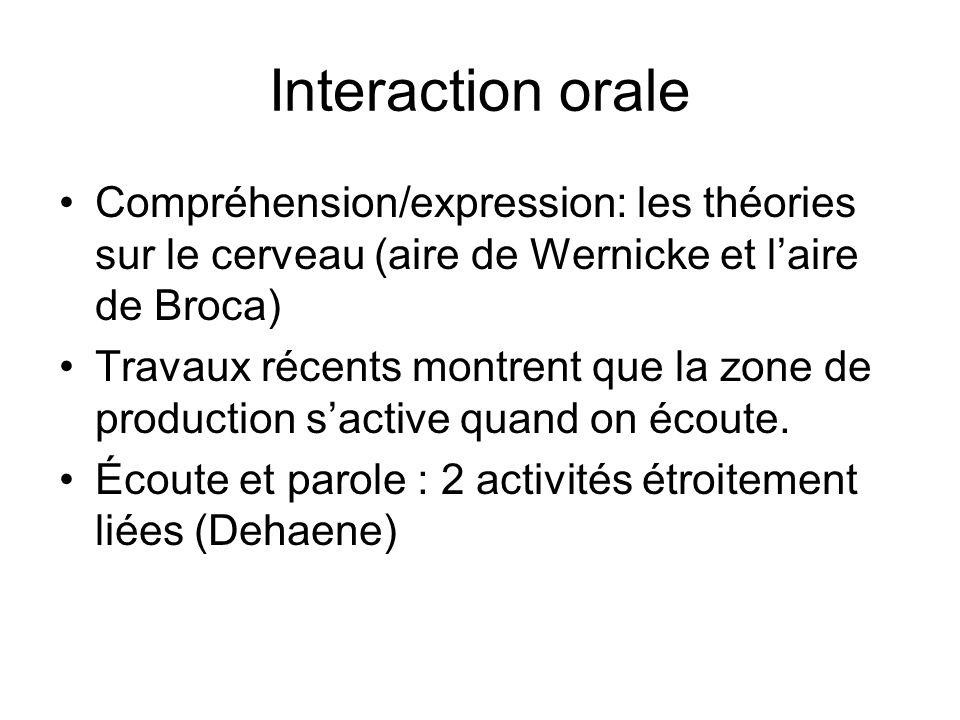 Interaction orale Compréhension/expression: les théories sur le cerveau (aire de Wernicke et laire de Broca) Travaux récents montrent que la zone de p
