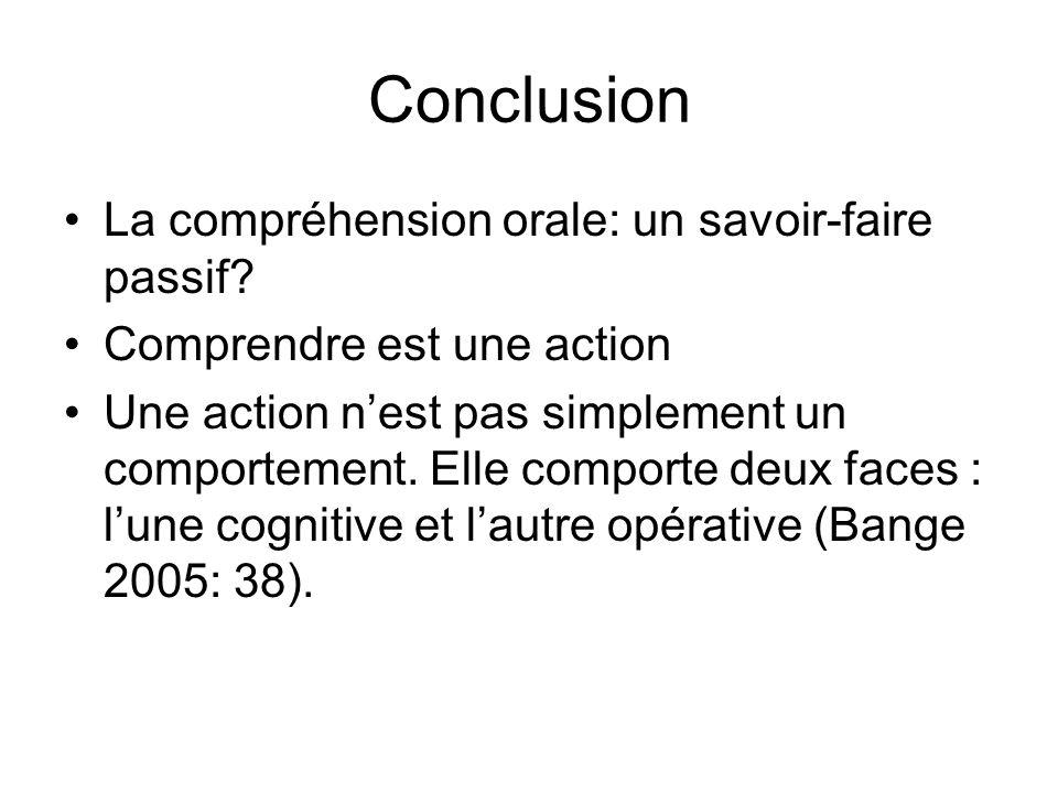 Conclusion La compréhension orale: un savoir-faire passif? Comprendre est une action Une action nest pas simplement un comportement. Elle comporte deu