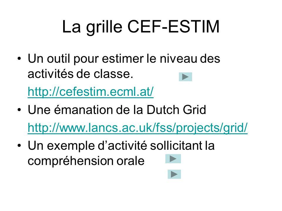 La grille CEF-ESTIM Un outil pour estimer le niveau des activités de classe. http://cefestim.ecml.at/ Une émanation de la Dutch Grid http://www.lancs.