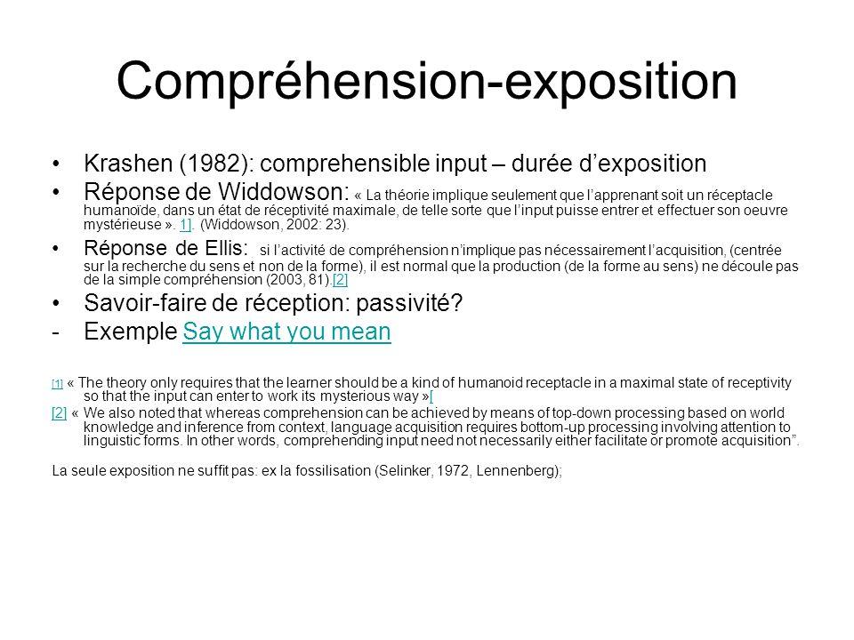 Compréhension-exposition Krashen (1982): comprehensible input – durée dexposition Réponse de Widdowson: « La théorie implique seulement que lapprenant