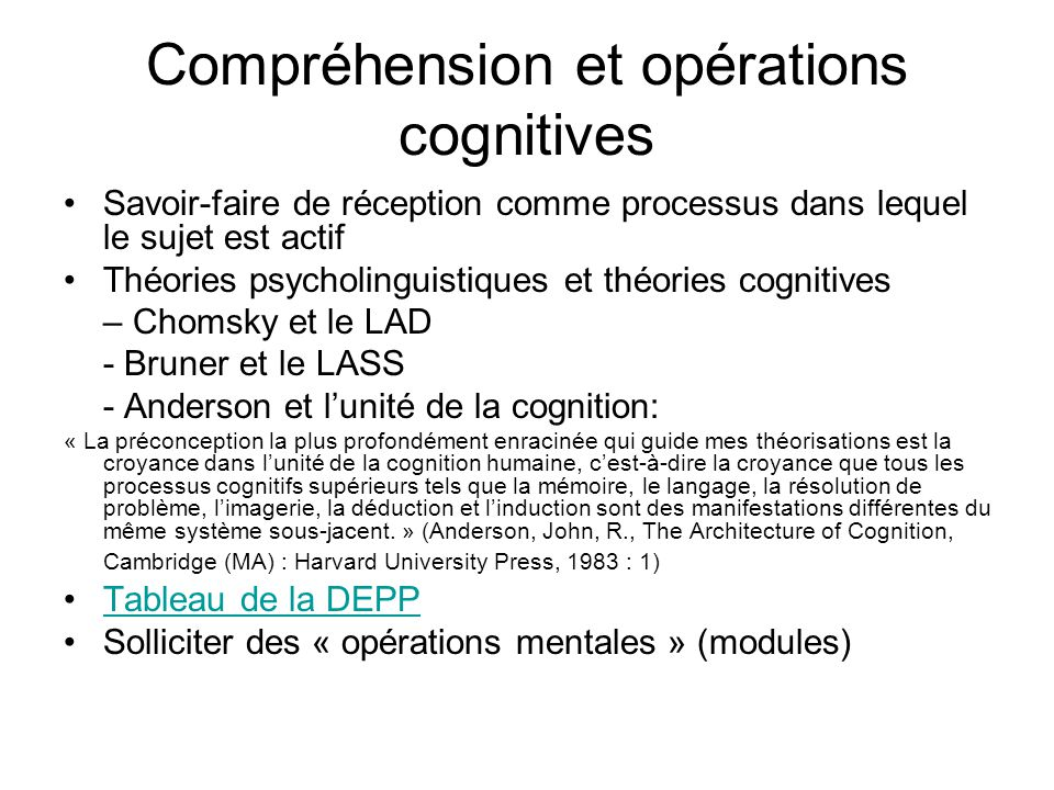 Stratégies cognitives et métacognitives Stratégies cognitives: « The special thoughts or behaviors that individuals use to help them comprehend, learn or retain new information.