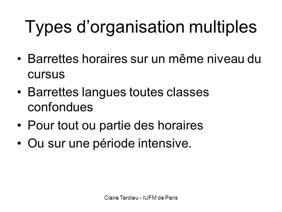 Claire Tardieu - IUFM de Paris Types dorganisation multiples Barrettes horaires sur un même niveau du cursus Barrettes langues toutes classes confondu