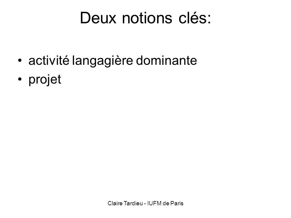 Claire Tardieu - IUFM de Paris Deux notions clés: activité langagière dominante projet