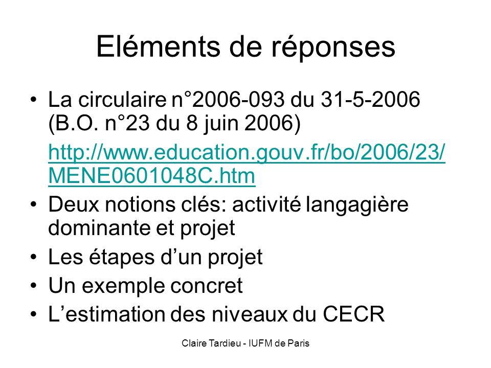 Claire Tardieu - IUFM de Paris Eléments de réponses La circulaire n°2006-093 du 31-5-2006 (B.O. n°23 du 8 juin 2006) http://www.education.gouv.fr/bo/2