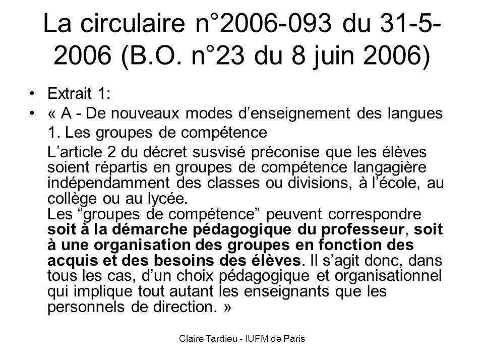 Claire Tardieu - IUFM de Paris La circulaire (suite) Extrait 2: « Le travail organisé autour dune activité langagière dominante peut être dispensé dans des groupes constitués délèves ayant les mêmes besoins et issus de classes différentes.
