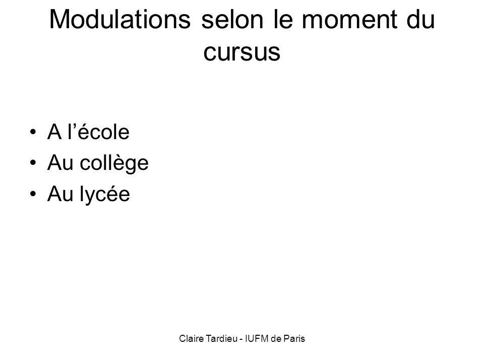 Claire Tardieu - IUFM de Paris Modulations selon le moment du cursus A lécole Au collège Au lycée