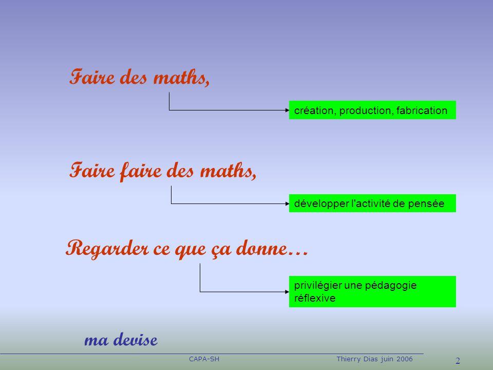 2 CAPA-SHThierry Dias juin 2006 Faire des maths, création, production, fabrication Faire faire des maths, Regarder ce que ça donne… développer l'activ