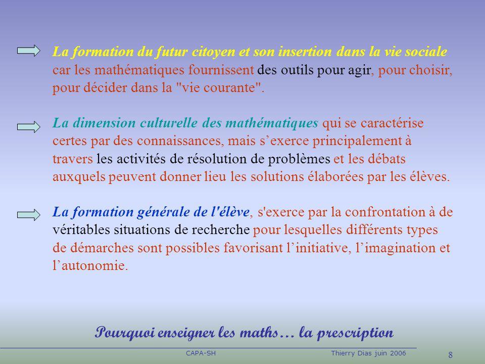 8 CAPA-SHThierry Dias juin 2006 La formation du futur citoyen et son insertion dans la vie sociale car les mathématiques fournissent des outils pour a