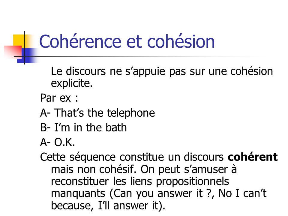 Cohérence et cohésion Le discours ne sappuie pas sur une cohésion explicite. Par ex : A- Thats the telephone B- Im in the bath A- O.K. Cette séquence