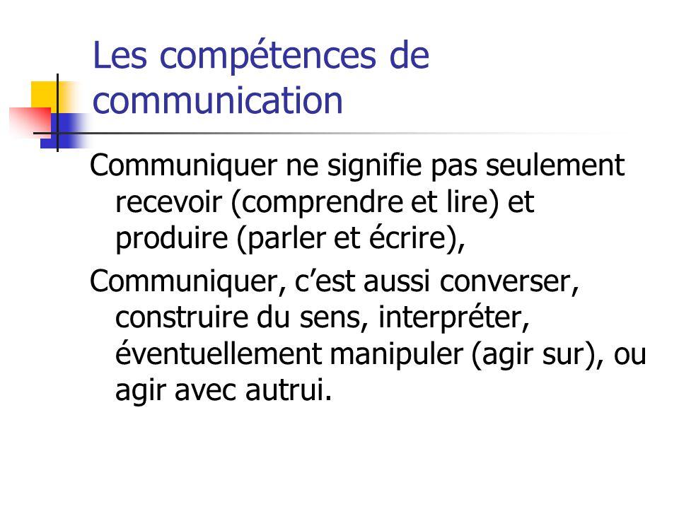 Les compétences de communication Communiquer ne signifie pas seulement recevoir (comprendre et lire) et produire (parler et écrire), Communiquer, cest