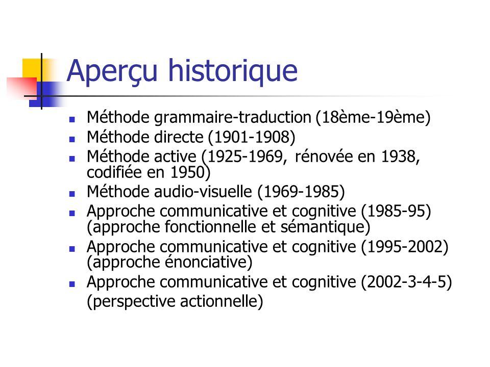 Aperçu historique Méthode grammaire-traduction (18ème-19ème) Méthode directe (1901-1908) Méthode active (1925-1969, rénovée en 1938, codifiée en 1950)