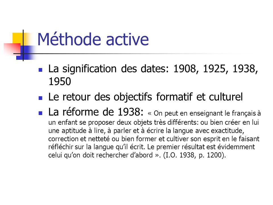 Méthode active La signification des dates: 1908, 1925, 1938, 1950 Le retour des objectifs formatif et culturel La réforme de 1938: « On peut en enseig