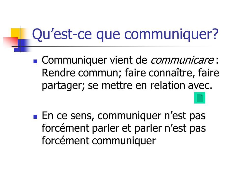 Quest-ce que communiquer? Communiquer vient de communicare : Rendre commun; faire connaître, faire partager; se mettre en relation avec. En ce sens, c
