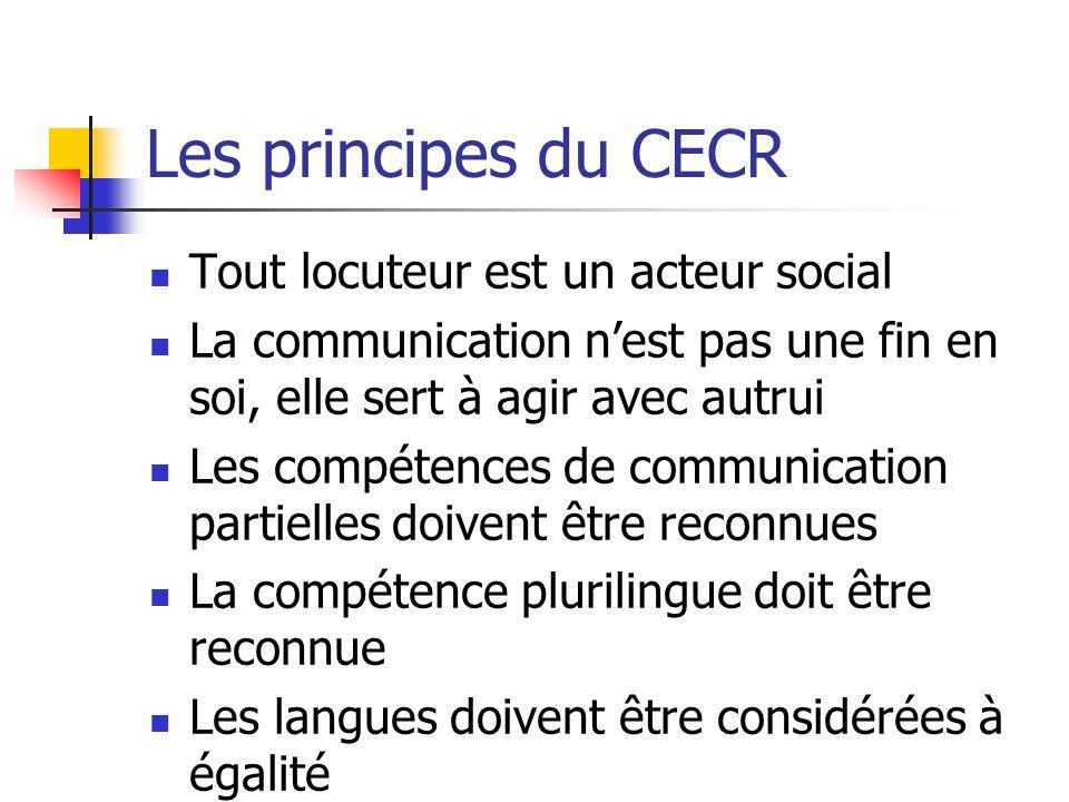Les principes du CECR Tout locuteur est un acteur social La communication nest pas une fin en soi, elle sert à agir avec autrui Les compétences de com