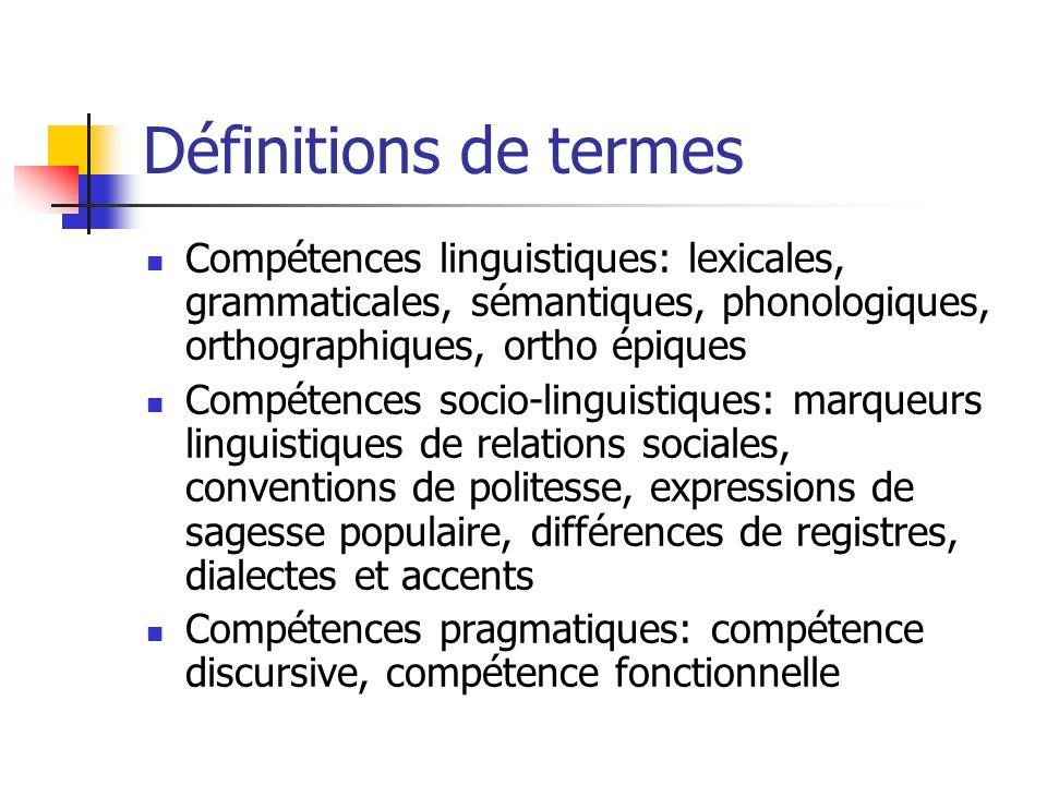 Définitions de termes Compétences linguistiques: lexicales, grammaticales, sémantiques, phonologiques, orthographiques, ortho épiques Compétences soci