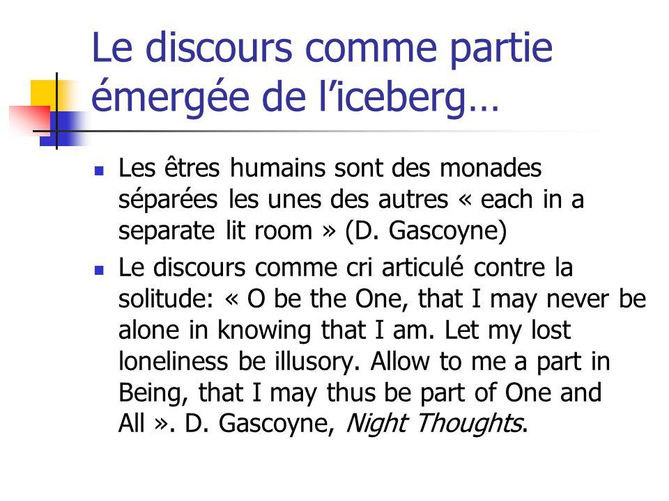 Le discours comme partie émergée de liceberg… Les êtres humains sont des monades séparées les unes des autres « each in a separate lit room » (D. Gasc