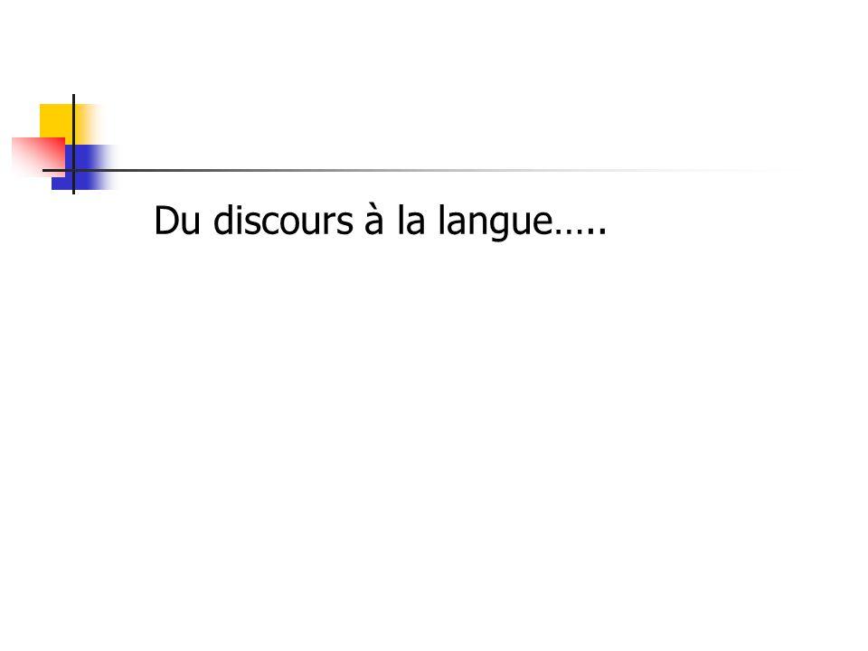 Du discours à la langue…..