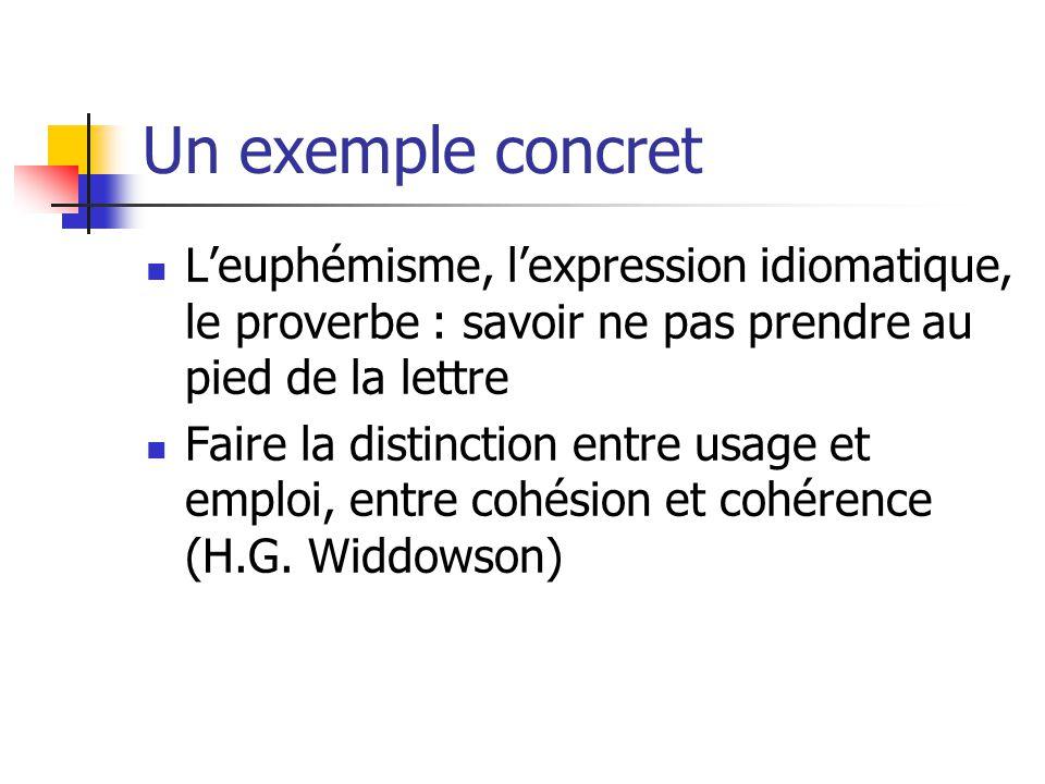 Un exemple concret Leuphémisme, lexpression idiomatique, le proverbe : savoir ne pas prendre au pied de la lettre Faire la distinction entre usage et