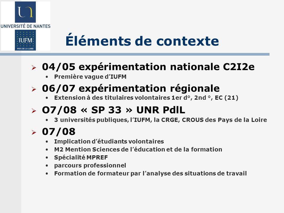 Éléments de contexte 04/05 expérimentation nationale C2I2e Première vague dIUFM 06/07 expérimentation régionale Extension à des titulaires volontaires 1er d°, 2nd °, EC (21) O7/08 « SP 33 » UNR PdlL 3 universités publiques, lIUFM, la CRGE, CROUS des Pays de la Loire 07/08 Implication détudiants volontaires M2 Mention Sciences de léducation et de la formation Spécialité MPREF parcours professionnel Formation de formateur par lanalyse des situations de travail