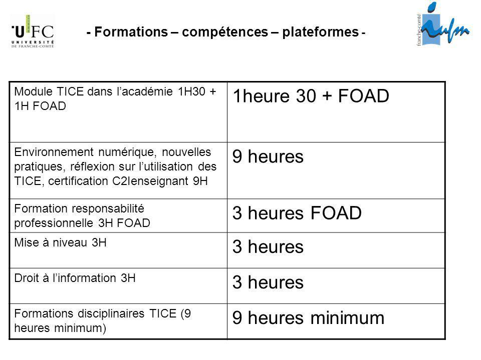 - Formations – compétences – plateformes - Module TICE dans lacadémie 1H30 + 1H FOAD 1heure 30 + FOAD Environnement numérique, nouvelles pratiques, ré