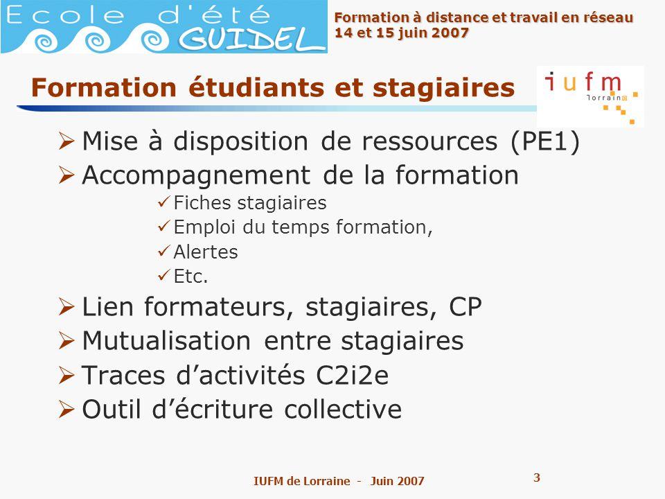 3 3 Formation à distance et travail en réseau 14 et 15 juin 2007 IUFM de Lorraine - Juin 2007 Formation étudiants et stagiaires Mise à disposition de