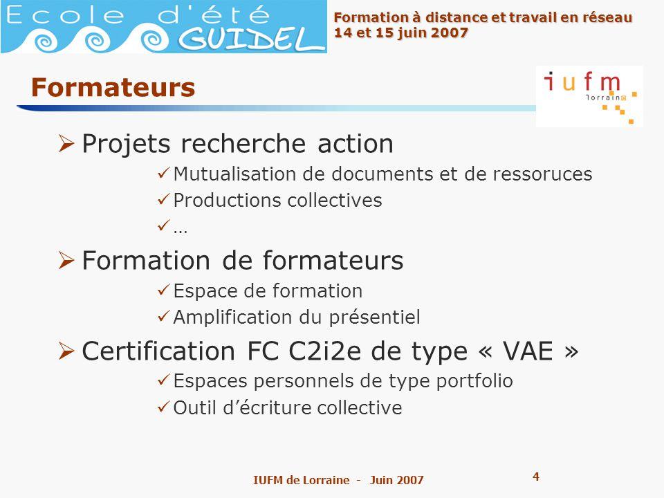 5 5 Formation à distance et travail en réseau 14 et 15 juin 2007 IUFM de Lorraine - Juin 2007 IUFM Groupes de réflexion sur le cahier des charges des IUFM Groupes de travail divers séminaires de terrain (IEN et formateurs) Mise en œuvre du C2i2e – mutualisation Etc.