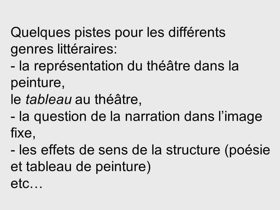 Quelques pistes pour les différents genres littéraires: - la représentation du théâtre dans la peinture, le tableau au théâtre, - la question de la na