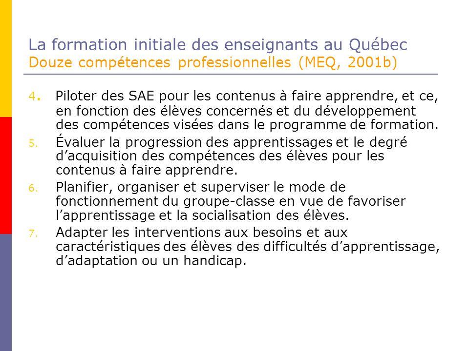 La formation initiale des enseignants au Québec Douze compétences professionnelles (MEQ, 2001b) 4.