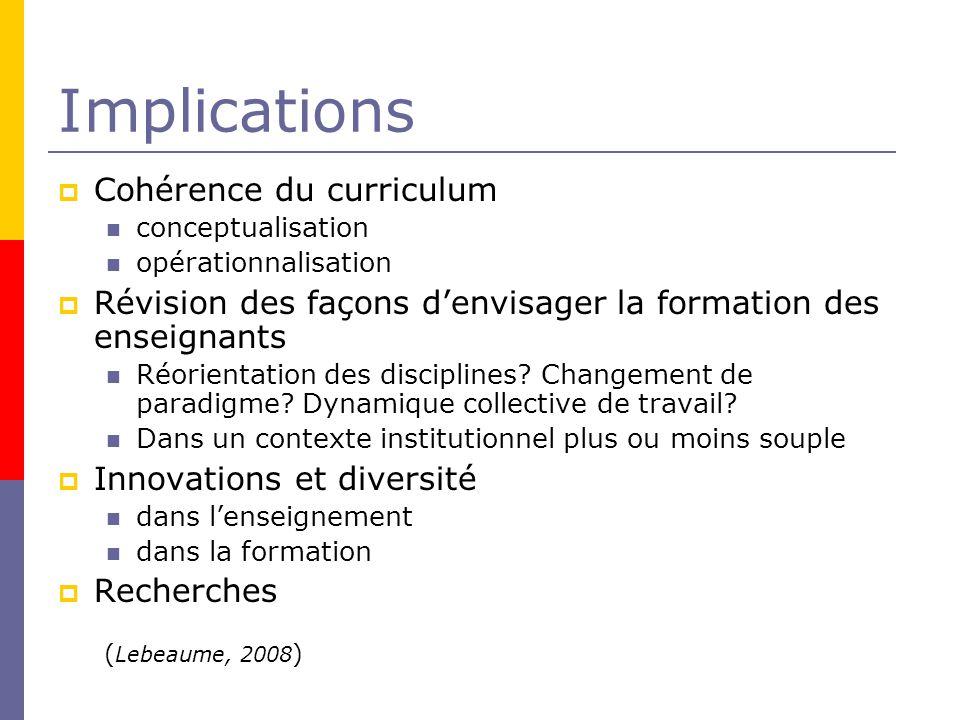 Implications Cohérence du curriculum conceptualisation opérationnalisation Révision des façons denvisager la formation des enseignants Réorientation des disciplines.