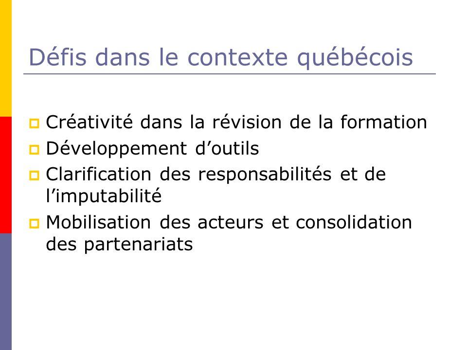 Défis dans le contexte québécois Créativité dans la révision de la formation Développement doutils Clarification des responsabilités et de limputabilité Mobilisation des acteurs et consolidation des partenariats
