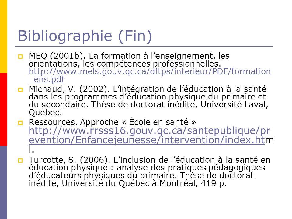 Bibliographie (Fin) MEQ (2001b).