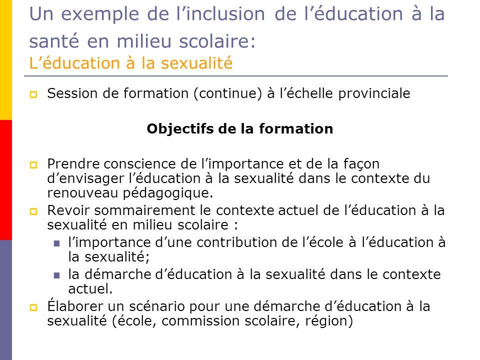 Un exemple de linclusion de léducation à la santé en milieu scolaire: Léducation à la sexualité Session de formation (continue) à léchelle provinciale Objectifs de la formation Prendre conscience de limportance et de la façon denvisager léducation à la sexualité dans le contexte du renouveau pédagogique.