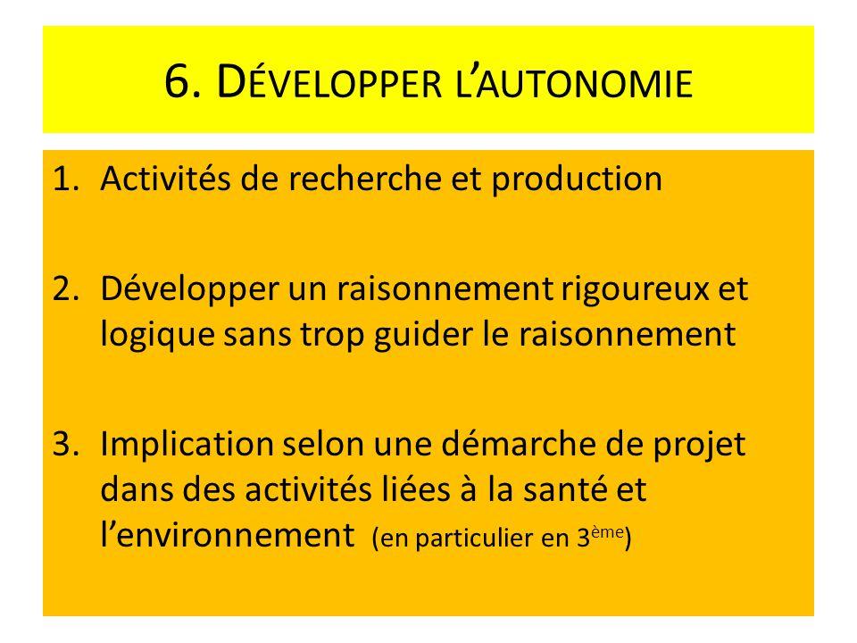 6. D ÉVELOPPER L AUTONOMIE 1.Activités de recherche et production 2.Développer un raisonnement rigoureux et logique sans trop guider le raisonnement 3