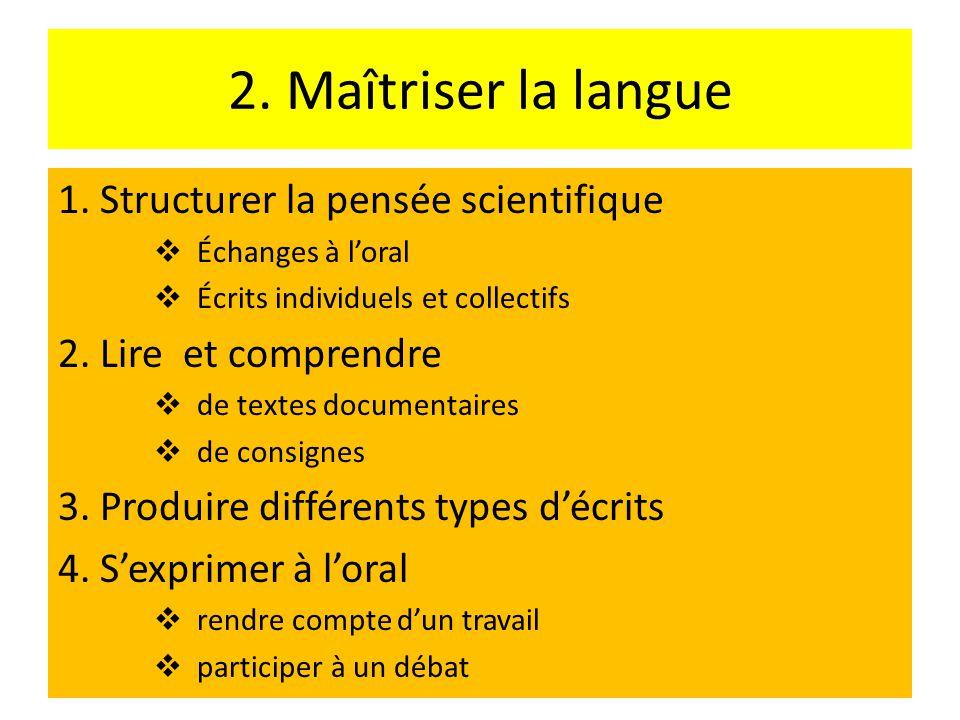 2.Maîtriser la langue 1.