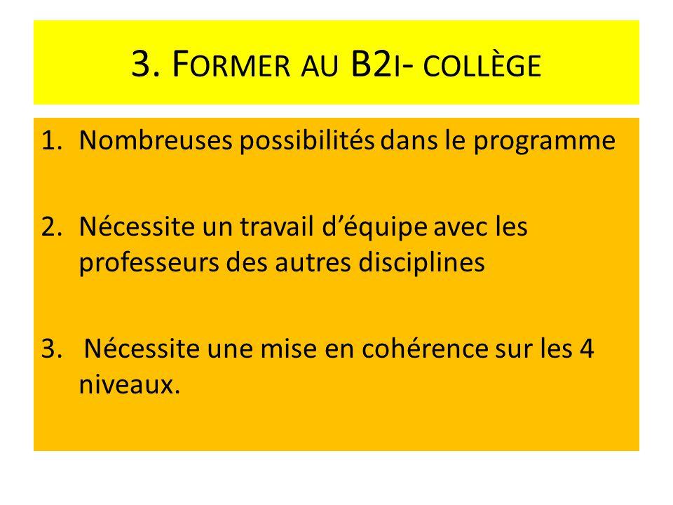 3. F ORMER AU B2 I - COLLÈGE 1.Nombreuses possibilités dans le programme 2.Nécessite un travail déquipe avec les professeurs des autres disciplines 3.