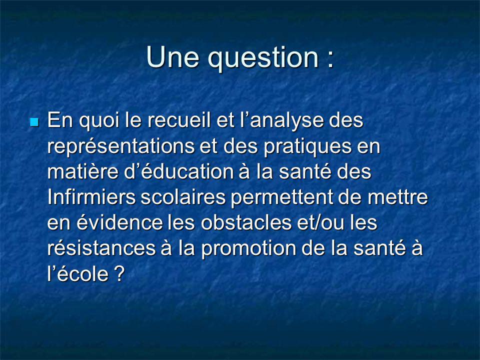Une question : En quoi le recueil et lanalyse des représentations et des pratiques en matière déducation à la santé des Infirmiers scolaires permetten