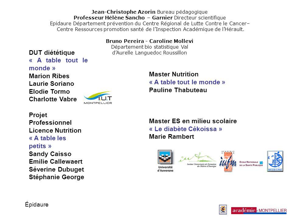 Épidaure DUT diététique « A table tout le monde » Marion Ribes Laurie Soriano Elodie Tormo Charlotte Vabre Projet Professionnel Licence Nutrition « A