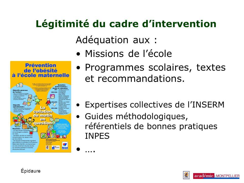 Épidaure Légitimité du cadre dintervention Adéquation aux : Missions de lécole Programmes scolaires, textes et recommandations. Expertises collectives