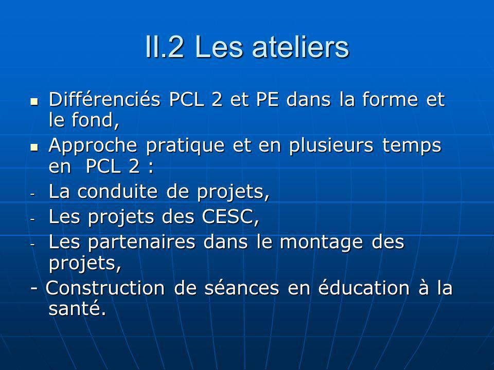 II.2 Les ateliers Différenciés PCL 2 et PE dans la forme et le fond, Différenciés PCL 2 et PE dans la forme et le fond, Approche pratique et en plusieurs temps en PCL 2 : Approche pratique et en plusieurs temps en PCL 2 : - La conduite de projets, - Les projets des CESC, - Les partenaires dans le montage des projets, - Construction de séances en éducation à la santé.