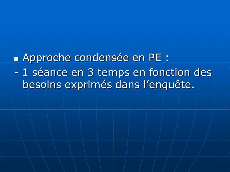 Approche condensée en PE : Approche condensée en PE : - 1 séance en 3 temps en fonction des besoins exprimés dans lenquête.