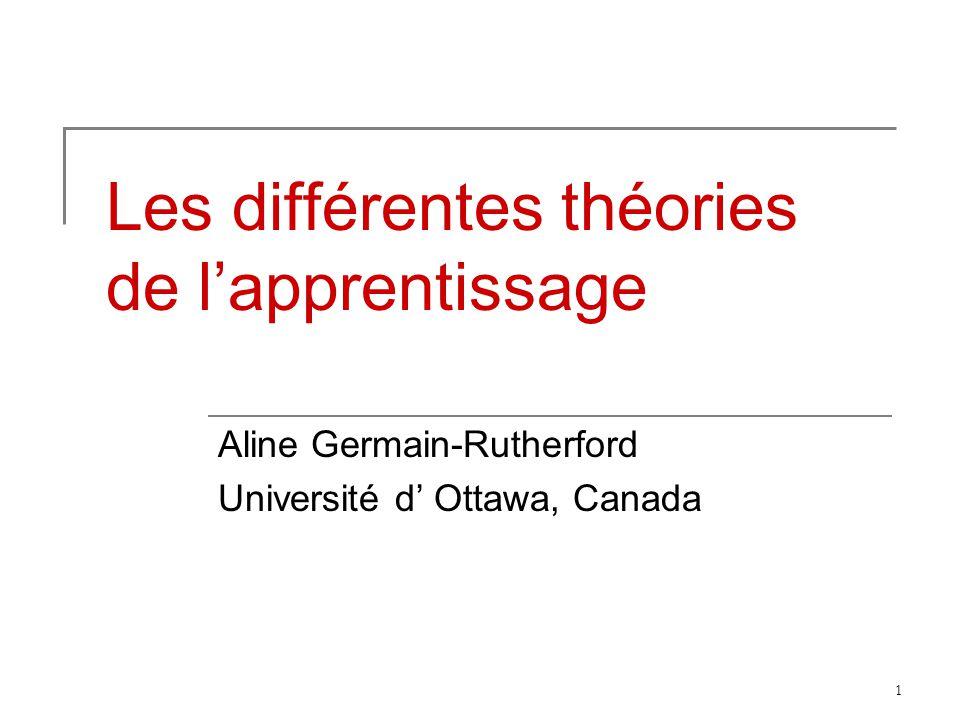 1 Les différentes théories de lapprentissage Aline Germain-Rutherford Université d Ottawa, Canada