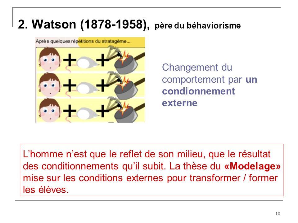 10 2. Watson (1878-1958), père du béhaviorisme Changement du comportement par un condionnement externe Lhomme nest que le reflet de son milieu, que le
