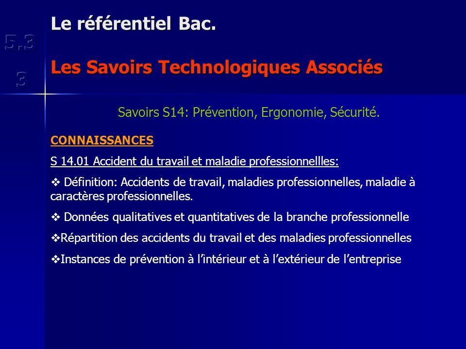 Le référentiel Bac. Les Savoirs Technologiques Associés Savoirs S14: Prévention, Ergonomie, Sécurité. CONNAISSANCES S 14.01 Accident du travail et mal