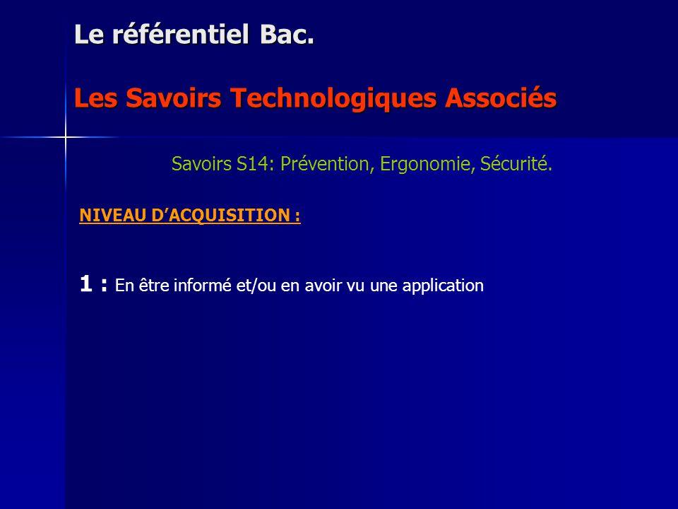NIVEAU DACQUISITION : 1 : En être informé et/ou en avoir vu une application Le référentiel Bac. Les Savoirs Technologiques Associés Savoirs S14: Préve