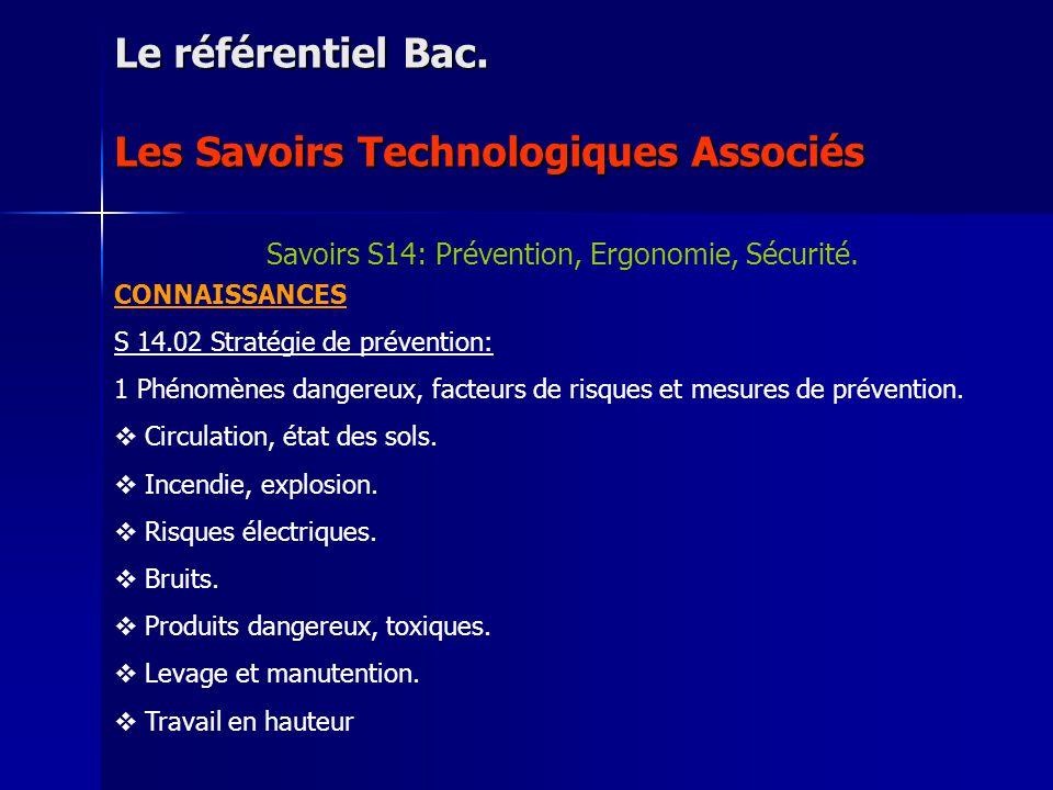 Le référentiel Bac. Les Savoirs Technologiques Associés Savoirs S14: Prévention, Ergonomie, Sécurité. CONNAISSANCES S 14.02 Stratégie de prévention: 1