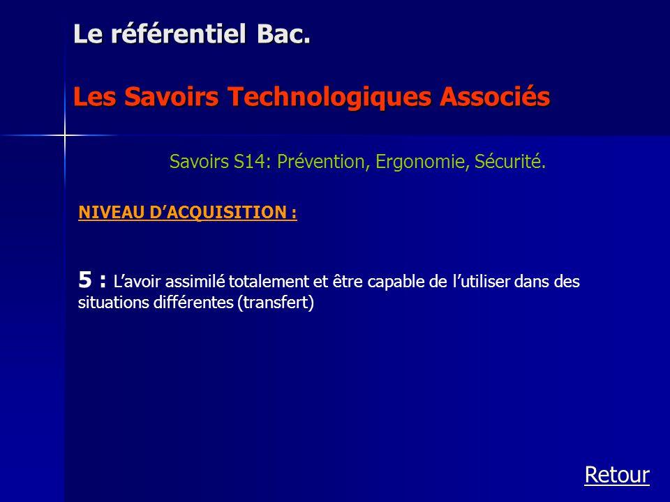 NIVEAU DACQUISITION : 5 : Lavoir assimilé totalement et être capable de lutiliser dans des situations différentes (transfert) Le référentiel Bac. Les