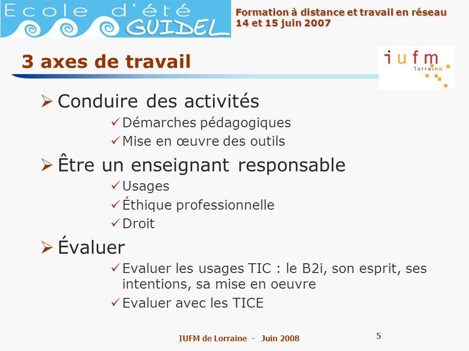 6 6 Formation à distance et travail en réseau 14 et 15 juin 2007 IUFM de Lorraine - Juin 2008 3 modalités de travail Travailler en équipe Mutualiser Sauto-former